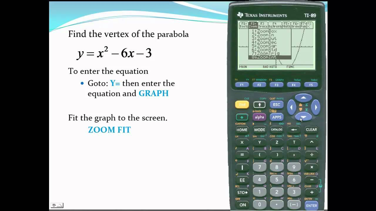 Ti 89 find the vertex of a parabola youtube falaconquin