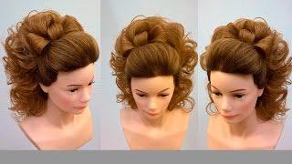 Высокий хвост с бантом из волос. Свадебная причёска на длинные волосы.