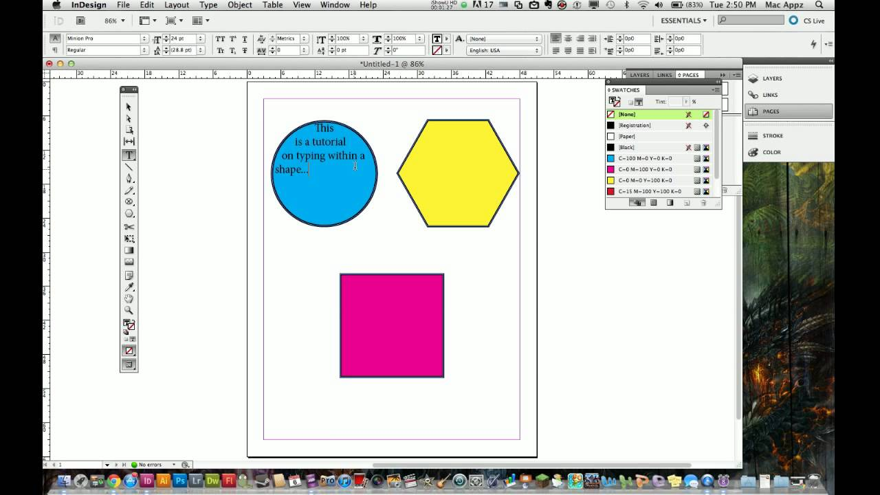 Adobe Indesign CS5 Tutorial - How to Place Text In Shapes - YouTube