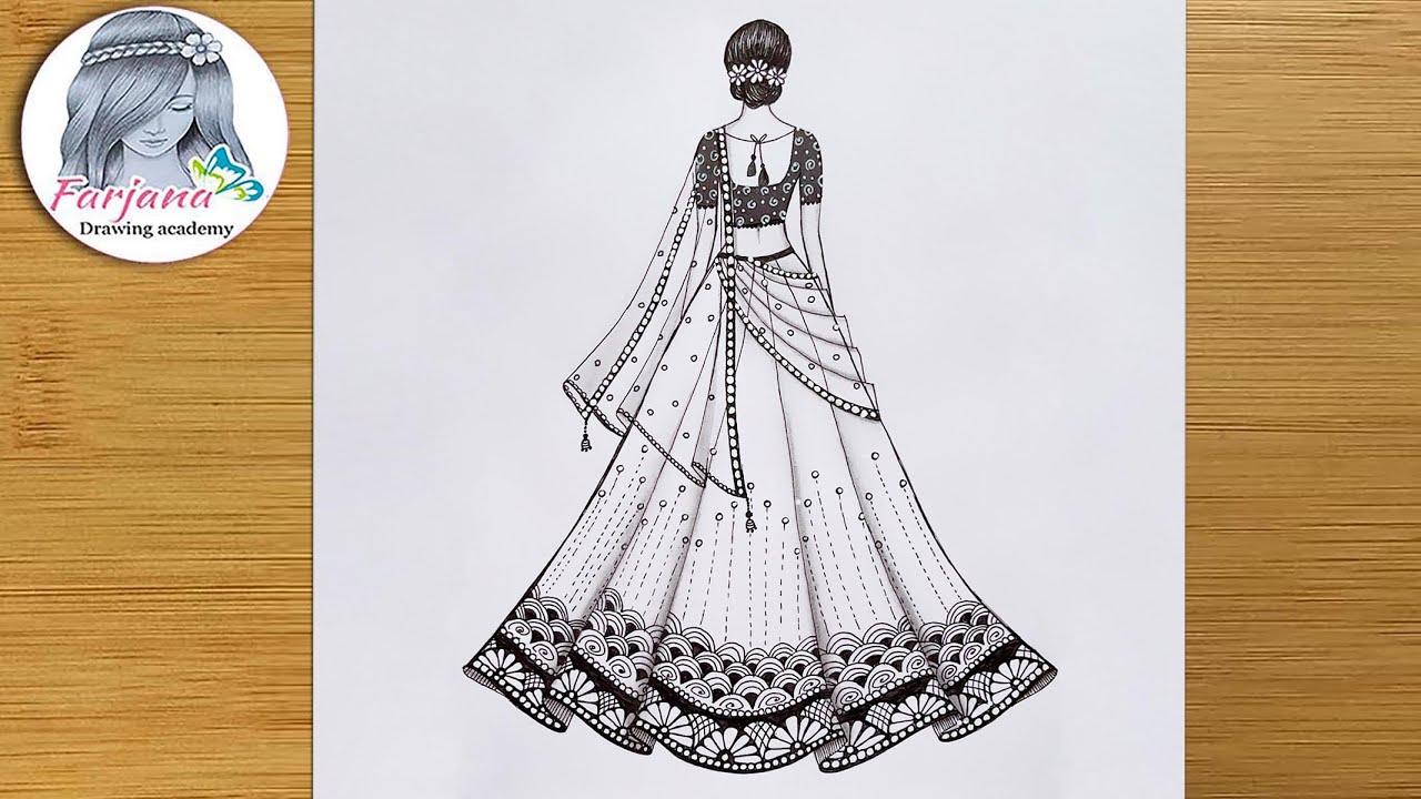 Girl With Beautiful Lehenga || How to Draw a Girl with Beautiful Traditional Dress || Mandala Art