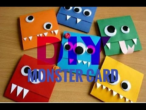 diy carte dr le monstre funny monster card youtube. Black Bedroom Furniture Sets. Home Design Ideas
