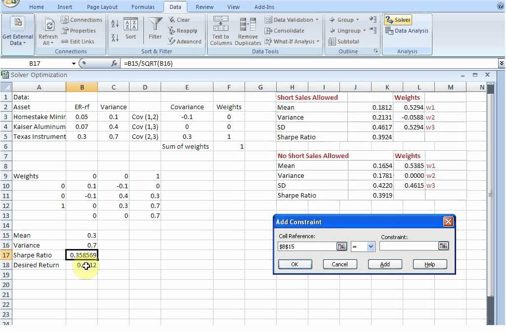Markowtizs Portfolio Risk Minimization With Excel Solver Youtube