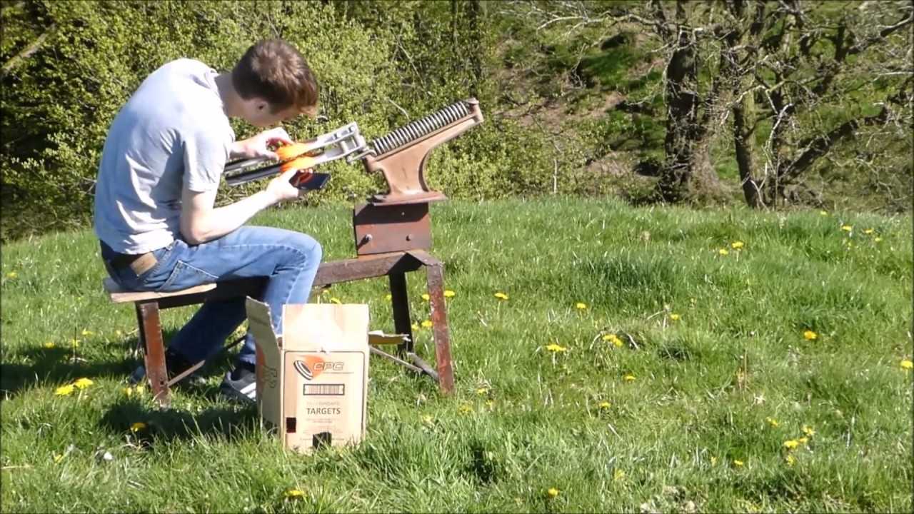 Homemade Clay Pigeon Thrower In Action Youtube