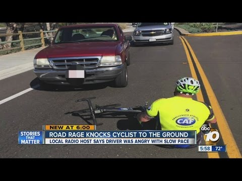 Angry driver knocks down bicyclist during charity race
