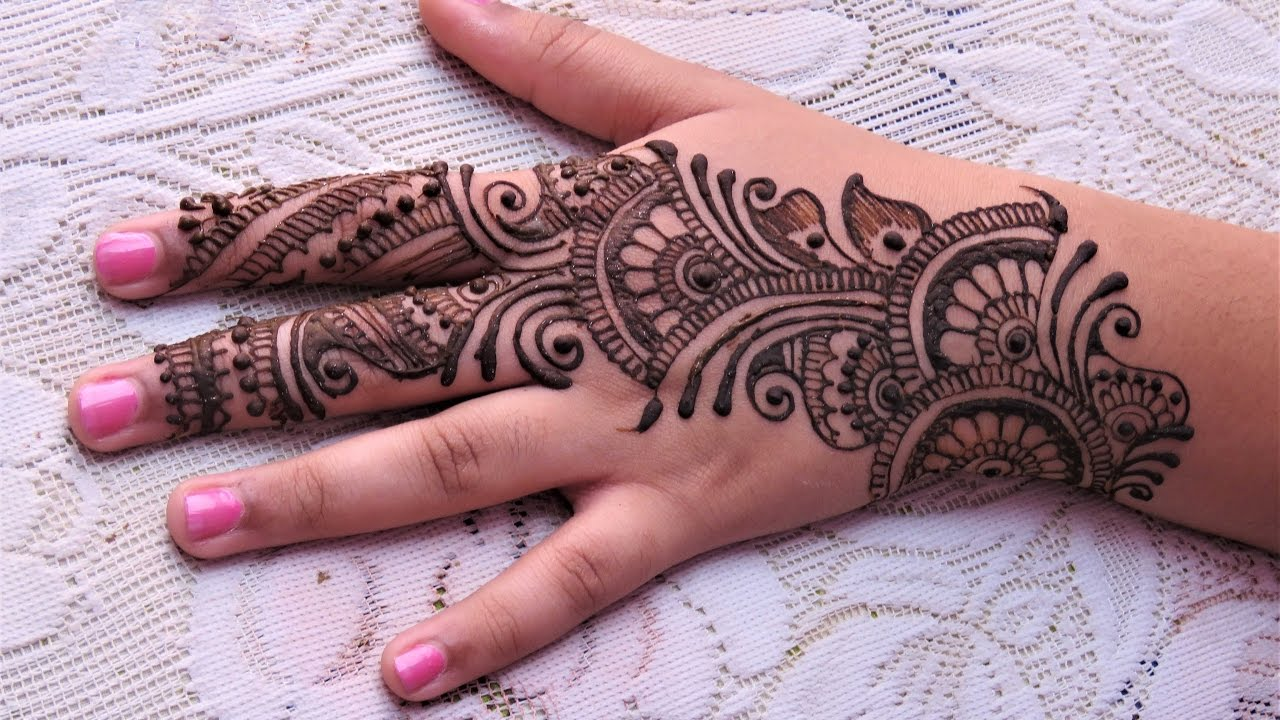 Easy Simple Arabic Henna Mehndi Designs For Hands Tutorial For Eid