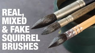 Real, Mixed and Fake Squirrel Brushes