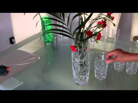 Blumenvase, Gläser mit Silikon Dekorieren - Vase, glasses with ...