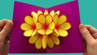 Pop-Up Card Flower - Mother's Day Crafts - Tutorial - Pop up card Mother's Day -