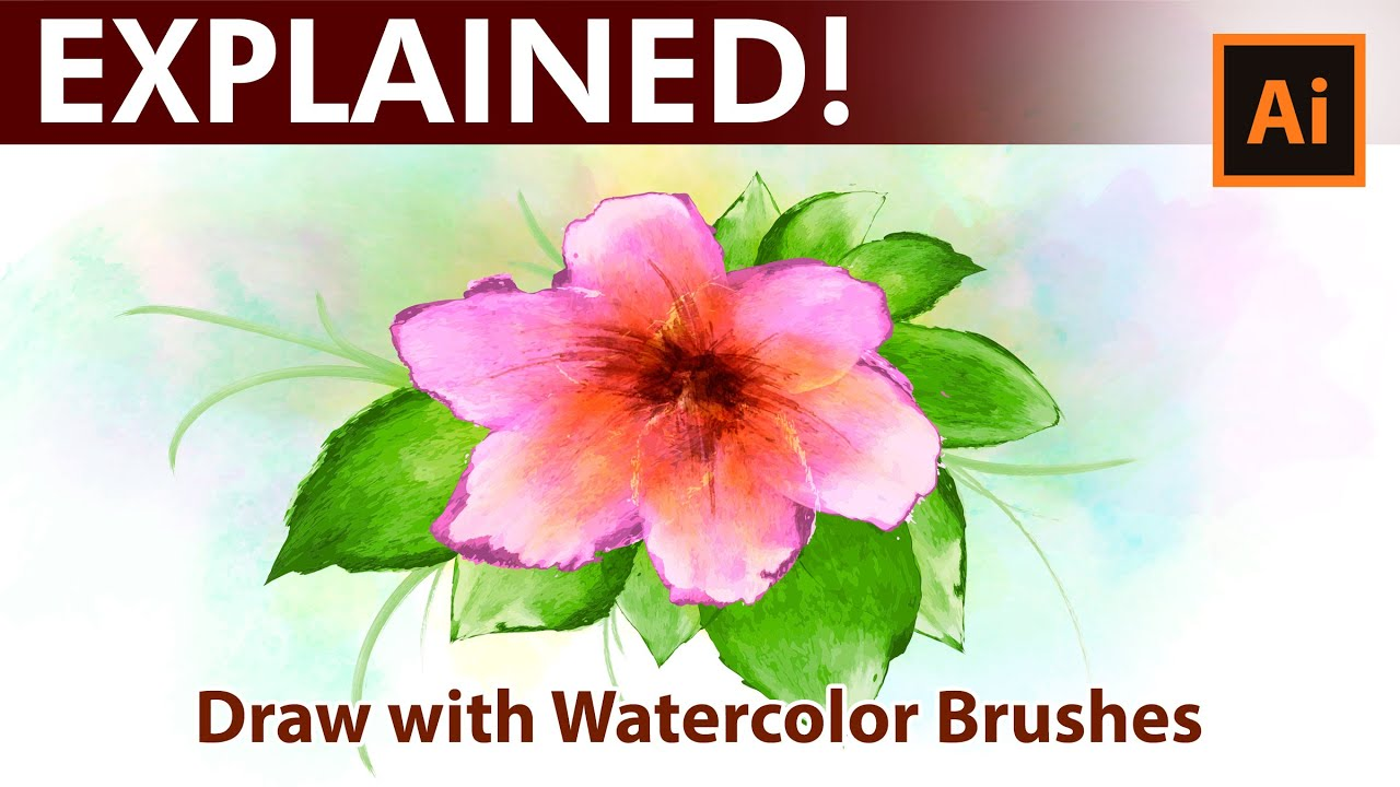 Adobe Illustrator - Flowers - Watercolor Drawing Tutorial - YouTube