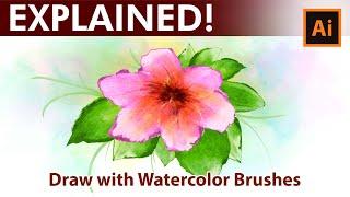 Adobe Illustrator - Flowers - Watercolor Drawing Tutorial