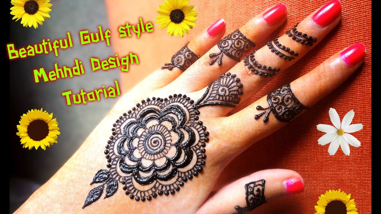 Mehndi design 2017 eid - How To Apply Easy Simple Gulf Dubai Style Henna Mehndi Design Tutorial For Hands For Eid Diwali 2017