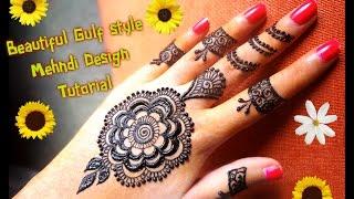 How to apply easy simple gulf dubai style henna mehndi design Tutorial for hands for eid,diwali 2017