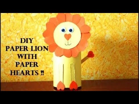 DIY Paper Roll Lion with Paper Hearts ~ Paper Lion Craft For Kids ~ Kids Craft / Tutorial