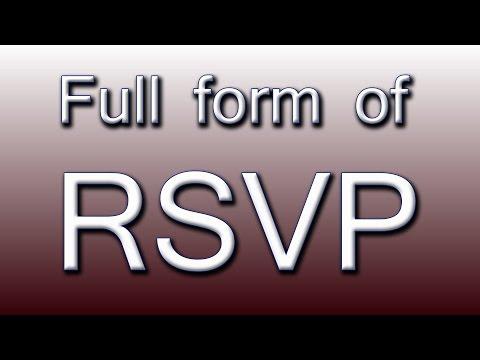 Full form of RSVP