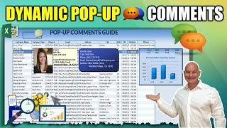 كيفية إنشاء 4 ديناميكية مختلفة المنبثقة التعليقات في Excel بما في ذلك الرسم البياني