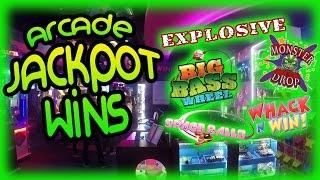 Arcade Jackpot Ticket Wins - Explosive, Big Bass Wheel, Monster Drop, Whack N Win & Space Balls