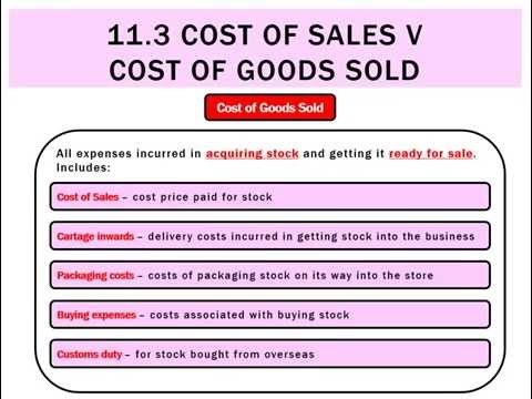 11.3 Cost of Sales vs Cost of Goods Sold
