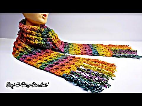 How To Crochet A Unisex Scarf   Taste The Rainbow   Bag O Day Crochet Tutorial #550