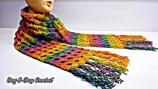 How To Crochet A Unisex Scarf | Taste The Rainbow | Bag O Day Crochet Tutorial #550