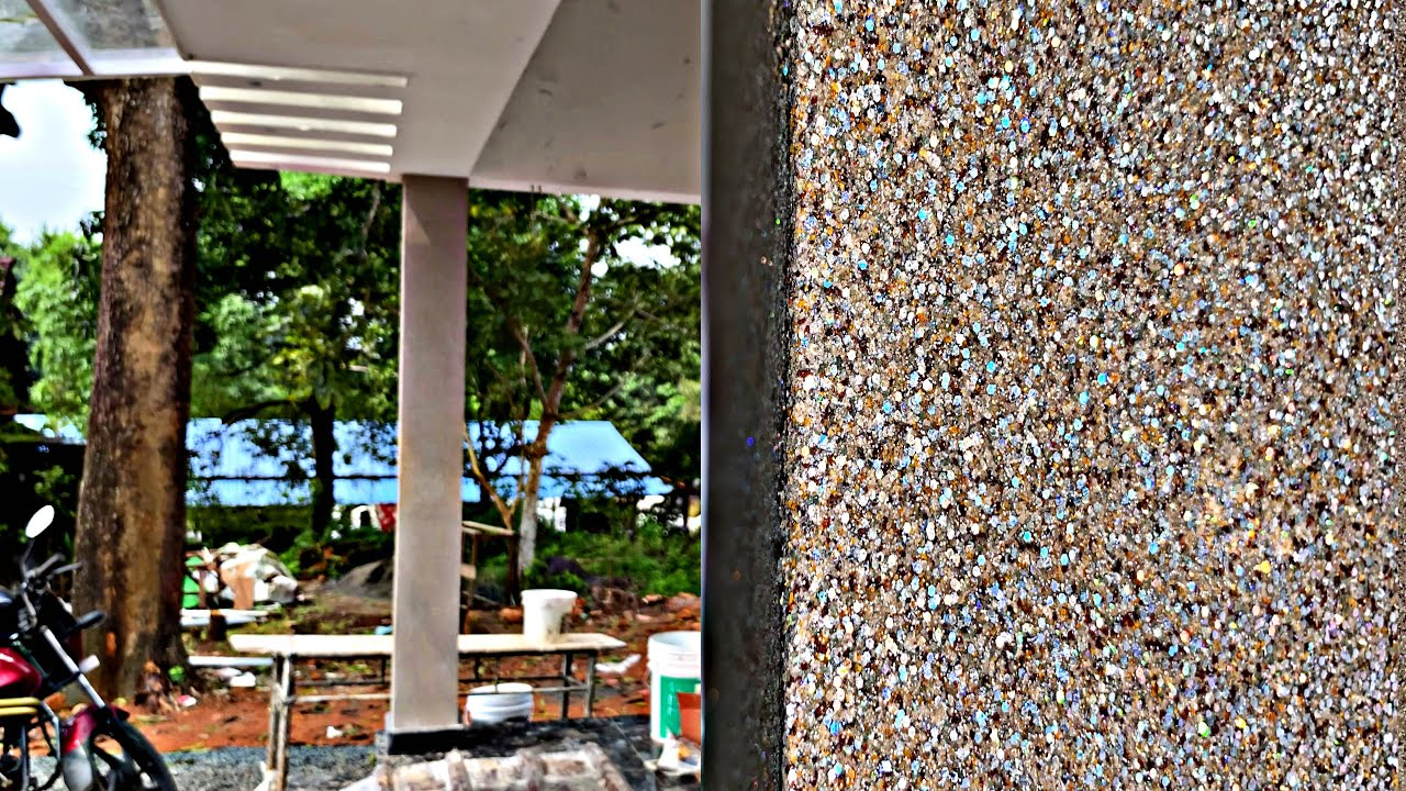 Exterior glitter stone pillars designing in house simply