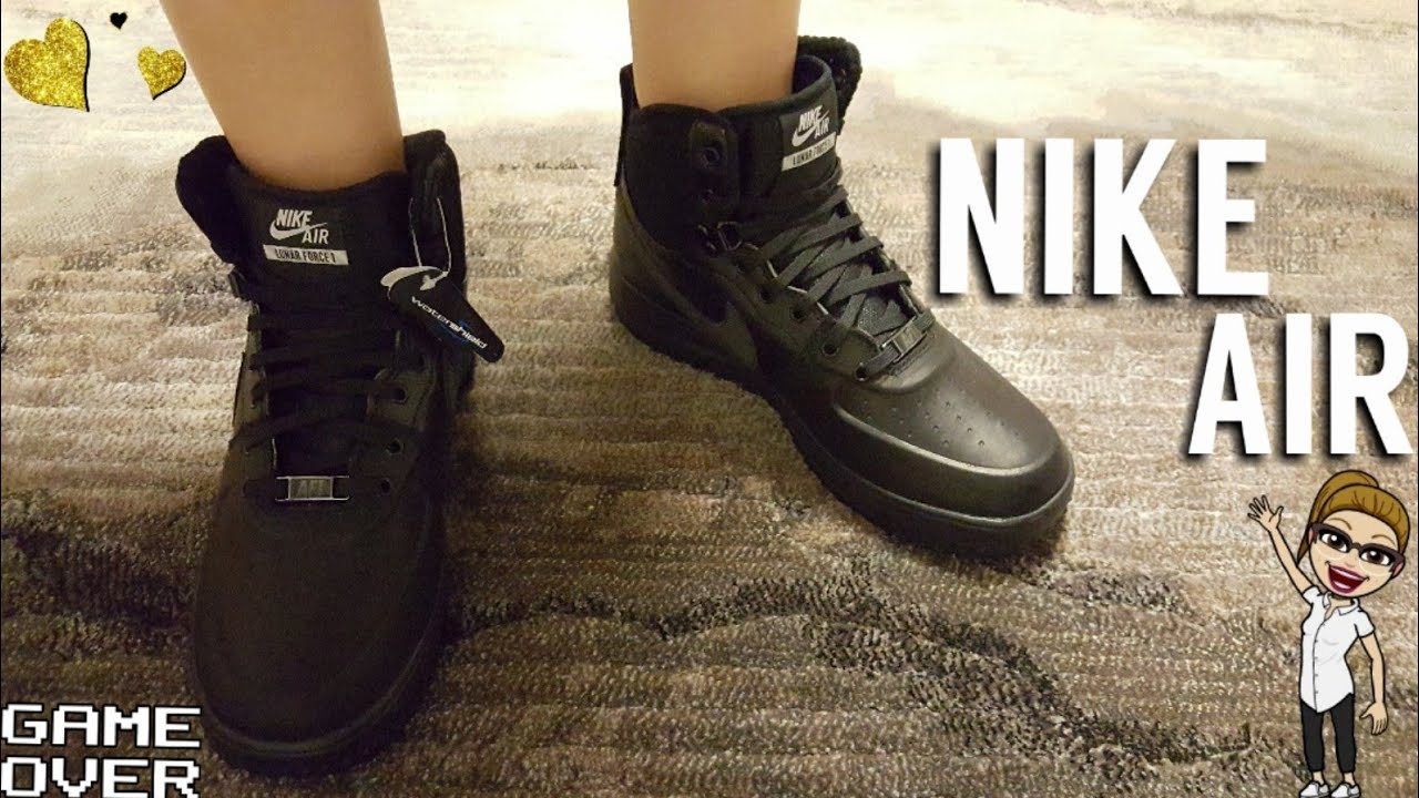 c6ee9b23f19529 NIKE AIR LUNAR FORCE 1 SNEAKERBOOT GS BLACK SHOES - YouTube