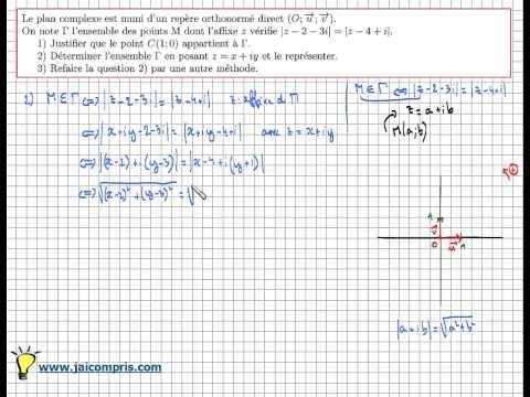 module nombre complexe :exercice Type Bac - |z-a|=|z-b| par 2 méthodes - IMPORTANT