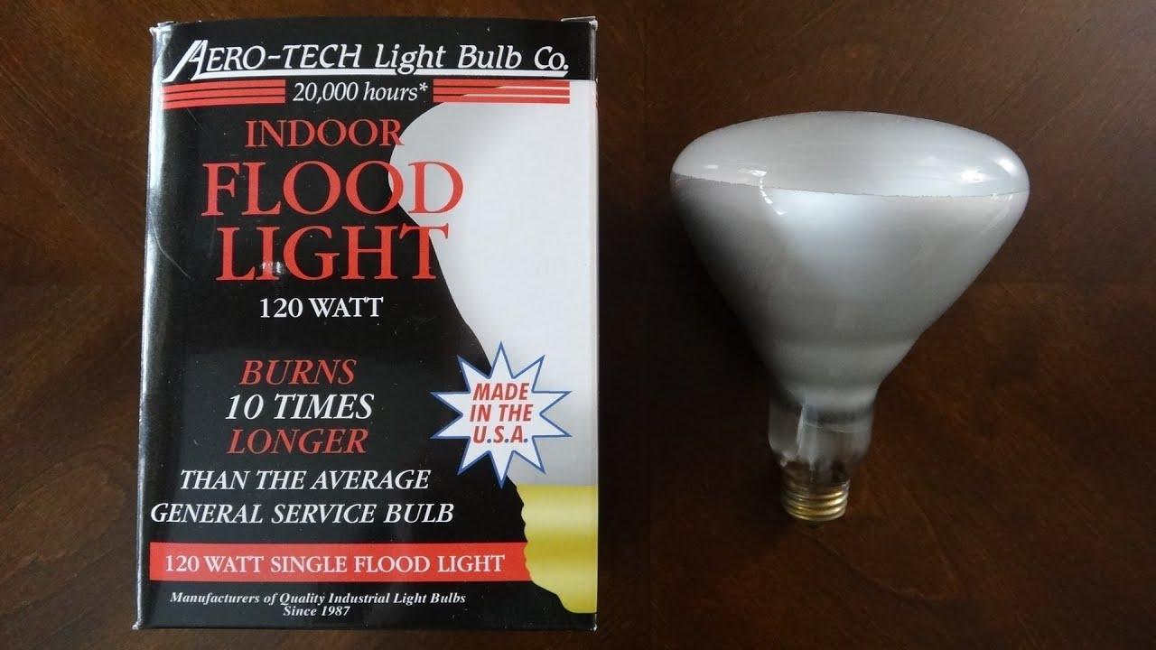 aero tech 120watt frosted flood light bulb made in the u s. Black Bedroom Furniture Sets. Home Design Ideas