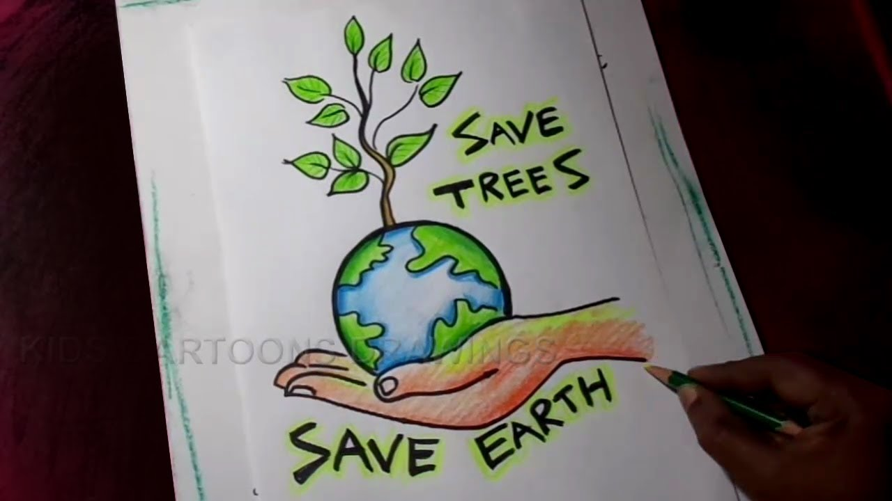 How To Draw Save Trees Save Earth Poster Drawing For Kids Youtube