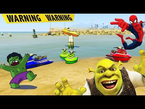 Superheroes Cartoon - SpiderMan,Hulk,Shrek,CaptainAmerica & Funny Colors hydrocycle for kids #1