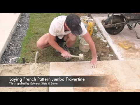 How To Lay Travertine Pavers French Pattern Youtube
