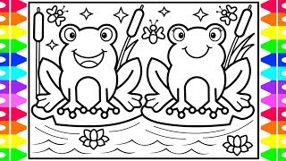 How to Draw a FROG for Kids 🐸💚💙💜Frog Drawing for Kids   Frog Coloring Pages for Kids