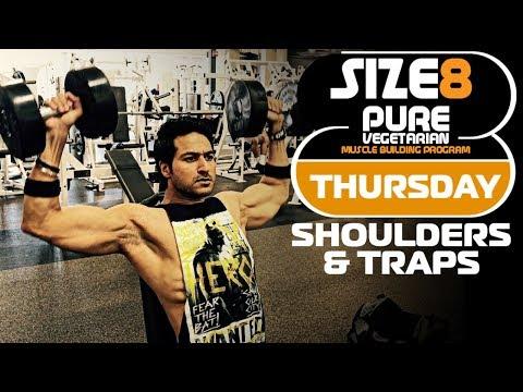 SIZE-8 | THURSDAY - Shoulders & Traps | Pure Vegetarian Muscle Building Program by Guru Mann
