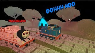 Thomas the train Thomas try to escape Ghost Timothy Explosions will happen in Roblox for kids