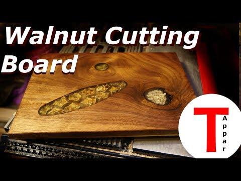 Epoxy Walnut & Oak Cutting Board, Inlaid Dried and Fresh Herbs