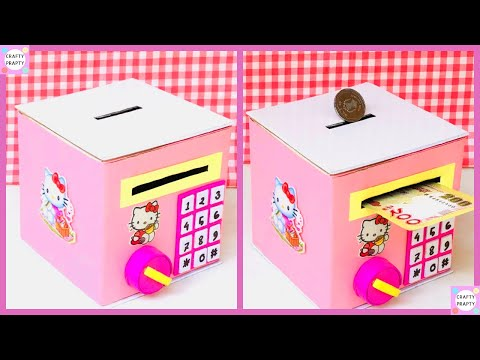 How to Make Personal Bank Saving Coin and Cash / / DIY Hello Kitty Piggy bank