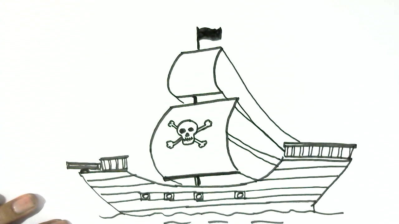 how to draw a pirate ship in easy steps for children kids