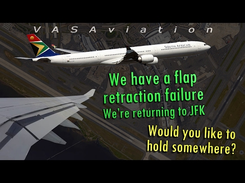 [REAL ATC] South African A340 FLAPS STUCK DOWN | Kennedy JFK
