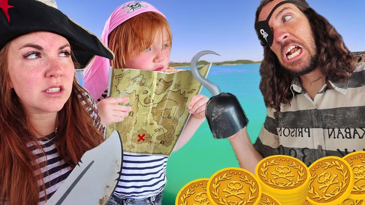 PiRATE FAMiLY lost at SEA!!  Adley finds a Beach & Magic Treasure Map! Floor is Lava pretend play ☠️