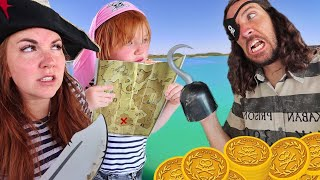 PiRATE FAMiLY lost at SEA!!  Adley finds a Beach & Magic Treasure Map! Floor is Lava pretend play ☠