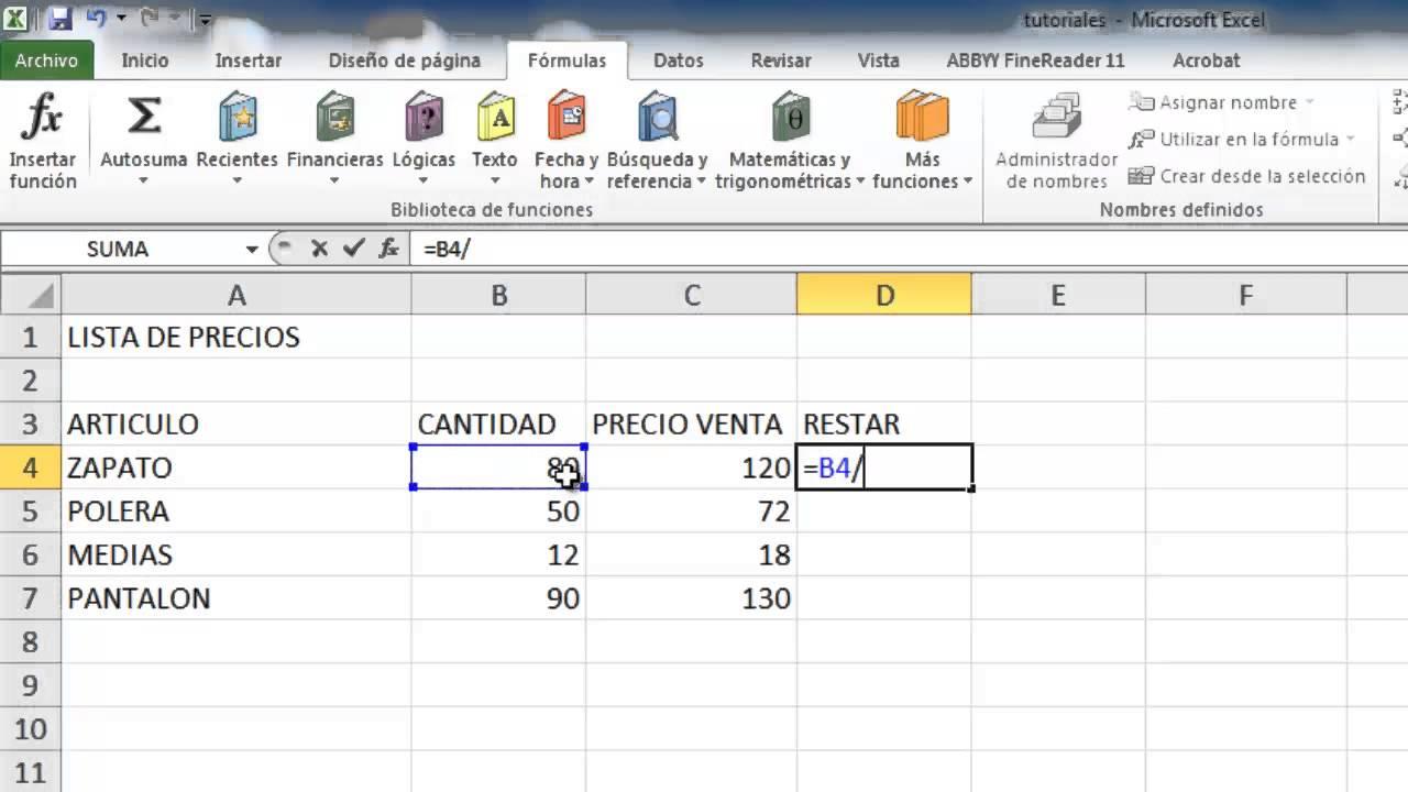 Formula Para Dividir Cantidades En Excel Youtube