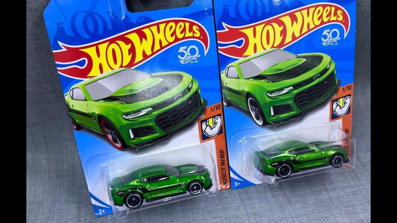 Lamley Super Showcase Hot Wheels Camaro Zl1 Treasure Hunt Hotwheels 12 Green And Card Variation To Look For