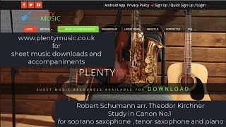 Schumann R. arr. Kirchner | Study in Canon No.1 for soprano saxophone, tenor saxophone and piano