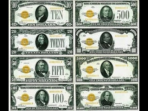 Gold certificate $10-$100,000 dollar bills replica money