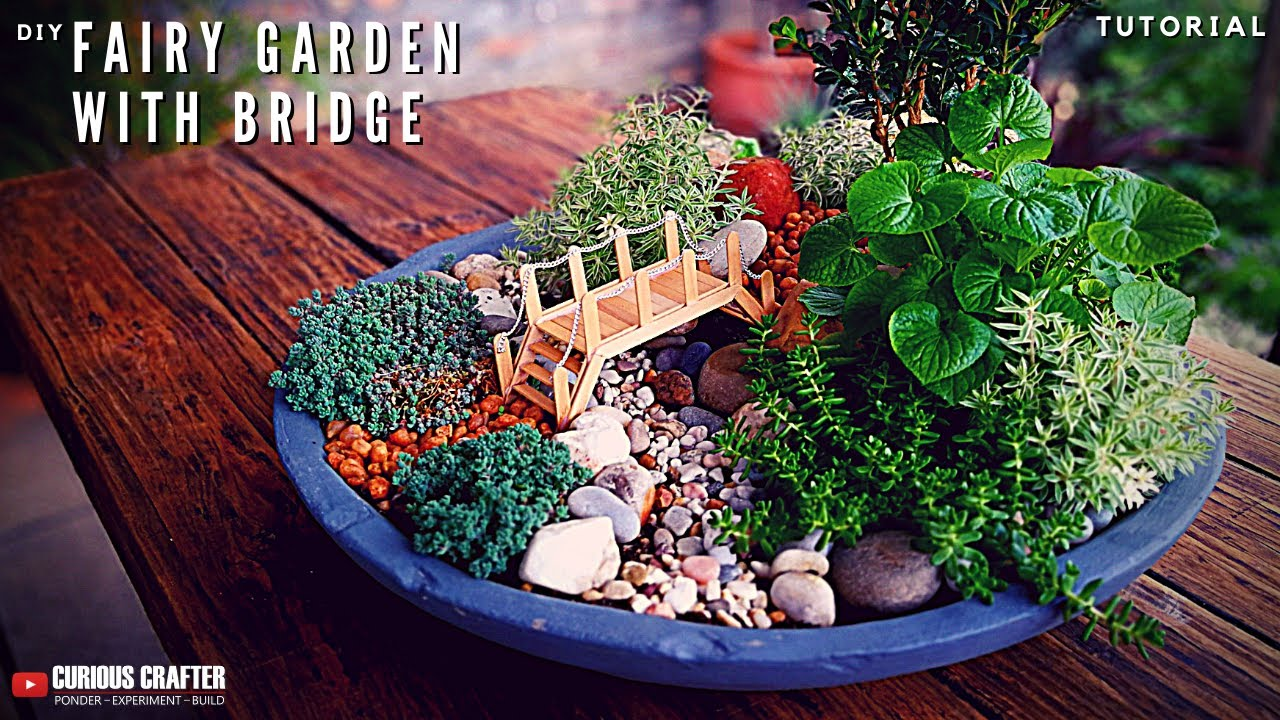 Cute Miniature Fairy Garden Tutorialu2013 [How To Make A Popsicle Stick Bridge]
