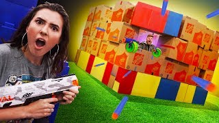 NERF GIANT Box Fort Battle Royale Challenge!