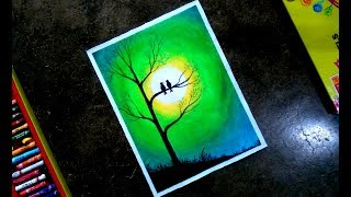 Love bird scenery step by step oil pastel drawing !! for kids and beginners