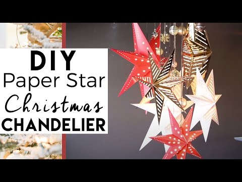 How to make a paper star chandelier christmas decorations youtube mozeypictures Image collections