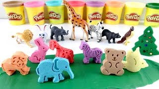 Learn Animals in Forest With Play Doh Lion Bear Elephant Giraffe Zabra rabbit Creative Fun Phymes