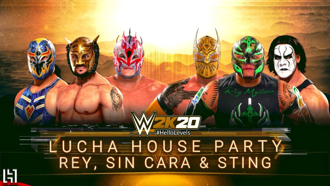 WWE 2K20 Lucha House Party Kalisto Gran Metalik Lince Dorado vs Rey Sin Cara Sting 6 Man Elimination