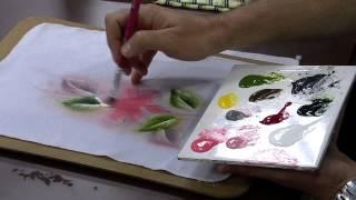 Pintura campanulas tecido molhado